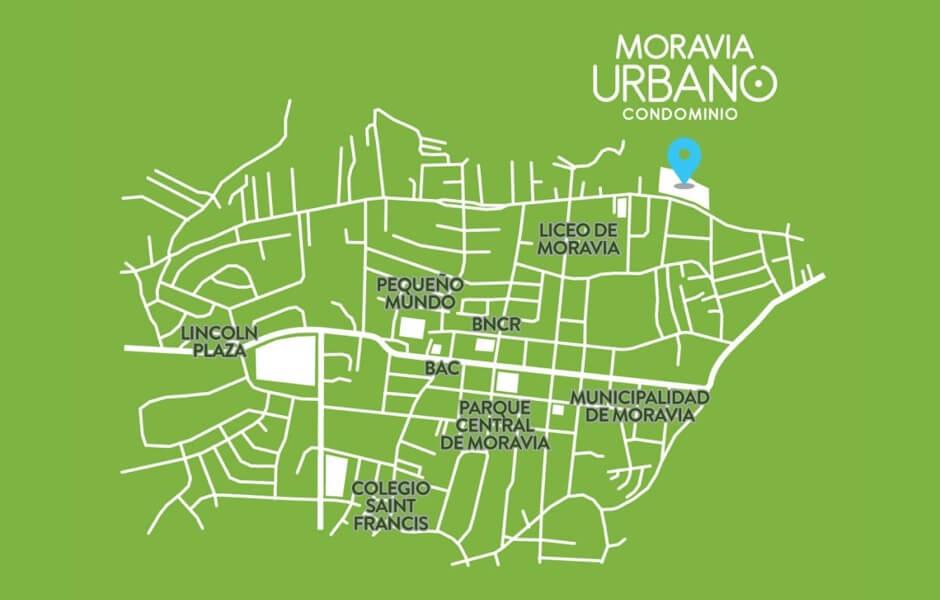 Ubicacion Moravia urbano